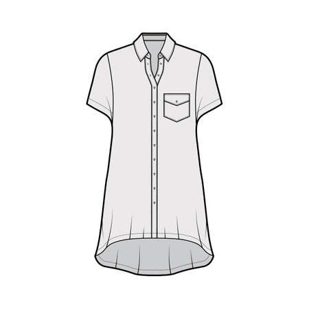 Oversized shirt dress technical fashion illustration with angled pocket, short sleeves, regular collar, high-low hem, front button-fastening. Flat template front grey color. Women men unisex top