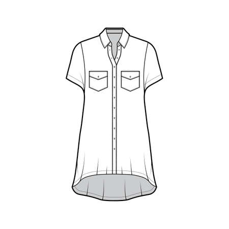 Oversized shirt dress technical fashion illustration with angled pockets, short sleeves, regular collar, high-low hem, front button-fastening. Flat template front white color. Women men unisex top
