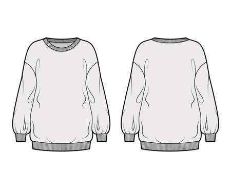 Cotton-terry slouchy oversized sweatshirt technical fashion illustration with loose relaxed fit, crew neckline, long sleeves. Flat jumper apparel template front, back, grey color. Women, men top CAD Vetores