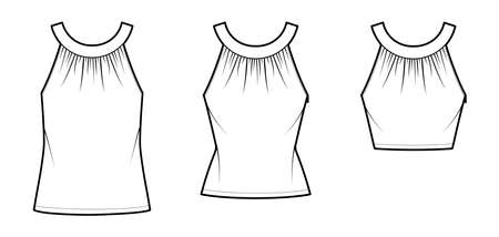 Set of Tops rounded neck band tank technical fashion illustration with ruching, fitted oversized body, tunic and waist length hem, button keyhole. Flat template front white color. Women men CAD mockup 矢量图像