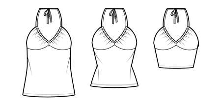 Set of Tops V-neck halter tanks technical fashion illustration with empire seam, thin tieback, slim, oversized fit, bow, crop, tunic length. Flat template front white color. Women men CAD mockup