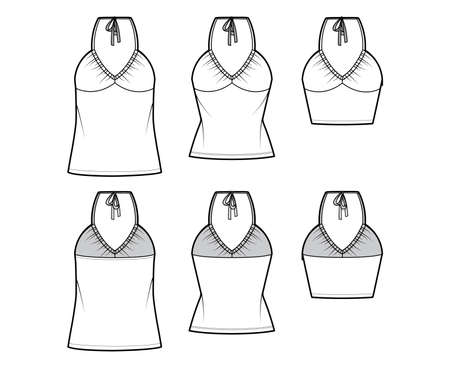 Set of Tops V-neck halter tanks technical fashion illustration with empire seam, thin tieback, slim, oversized fit, bow, crop, tunic length. Flat template front back white color. Women men CAD mockup  イラスト・ベクター素材