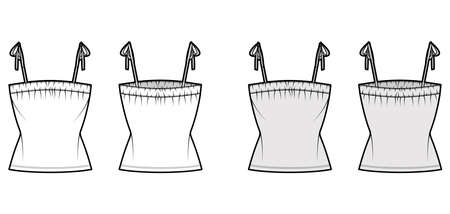 Tank tie strap top technical fashion illustration with gathered ruching at neck, fitted body, tunic length. Flat apparel outwear shirt template front, back, white grey color. Women, unisex CAD mockup