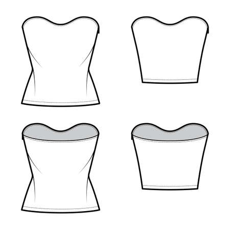Set of Tops strapless scoop neckline technical fashion illustration with slim fit, crop, tunic length. Flat apparel shirt outwear template front, back, white color. Women men unisex CAD mockup