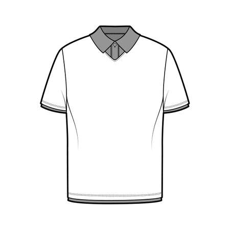 Double t-shirt technical fashion illustration with short sleeves, tunic length, henley neck, oversized, flat knit collar. Apparel top outwear template front, white color. Women men unisex CAD mockup