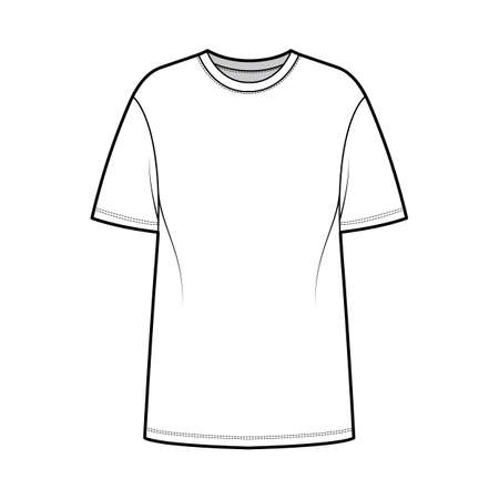 T-shirt oversized technical fashion illustration with short sleeves, crew neck, dropped shoulder, elongated hem. Flat apparel top outwear template front, white color. Women men unisex CAD mockup 矢量图像