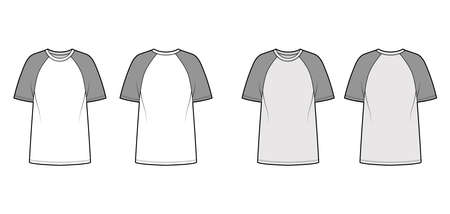 T-shirt baseball technical fashion illustration with raglan sleeves, tunic length, crew neck, oversized. Flat apparel top outwear template front, back, white, grey color. Women men unisex CAD mockup