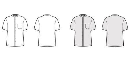 Shirt nehru collar technical fashion illustration with short sleeves, angled pocket, mandarin neck. Flat indian jacket apparel outwear template front back white grey color. Women men unisex CAD mockup 矢量图像