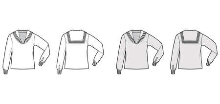 Shirt middy sailor suit technical fashion illustration with long sleeves with cuff, tunic length, oversized. Flat apparel top blouse template front, back, white grey color. Women men unisex CAD mockup
