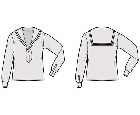 Shirt middy sailor suit technical fashion illustration with bow, long sleeves, tunic length, oversized. Flat apparel top outwear blouse template front, back, grey color. Women men unisex CAD mockup