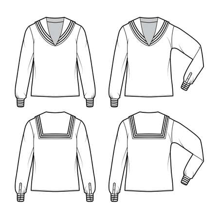 Set of shirts middy sailor suit technical fashion illustration with long sleeves with cuff, tunic length, oversized. Flat apparel outwear blouse template front, back, white color. Women men CAD mockup