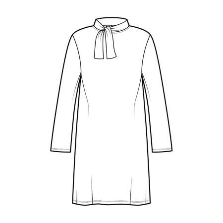 Tunic sweater technical fashion illustration with tie stand-away collar, long sleeves, oversized, knee length. Flat modest shirt apparel top template front, white color. Women men unisex CAD mockup Иллюстрация