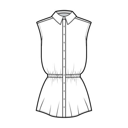 Shirt drawstring gathered waist technical fashion illustration with sleeveless, tunic length, classic collar. Flat apparel top outwear template front, white color. Women men unisex CAD mockup