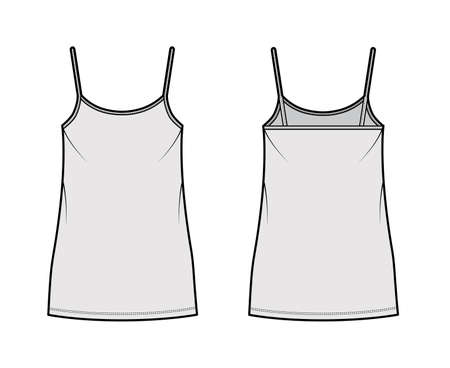 Camisole dress technical fashion illustration with scoop neck, straps, mini length, oversized body, Pencil fullness. Flat apparel template front, back, white, grey color. Women, men, unisex CAD mockup