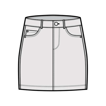 Denim skirt technical fashion illustration with mini length, low waist rise, curved and angled pockets. Flat bottom template front, grey color style. Women, men, unisex CAD mockup