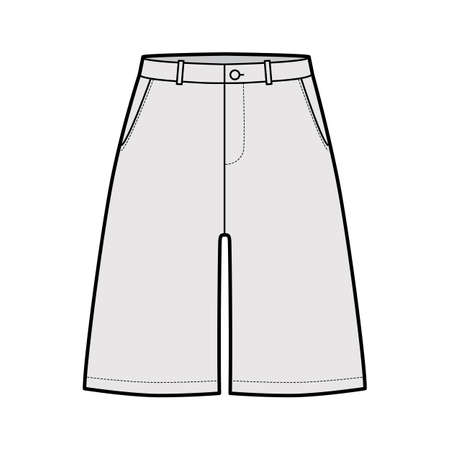 Short baggy Bermudas dress pants technical fashion illustration with above-the-knee length, low waist, rise, slashed pocket. Flat walking bottom template front grey color style. Women, men CAD mockup 向量圖像