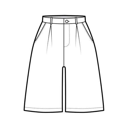 Short baggy Bermudas dress pants technical fashion illustration with above-the-knee length, single pleat, normal waist, high rise. Flat bottom template front, white color style. Women, men CAD mockup