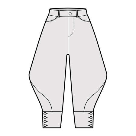 Riding breeches short pants technical fashion illustration with knee length, normal waist, high rise, curved pocket, buttoned. Flat bottom template front, grey color style. Women, men CAD mockup