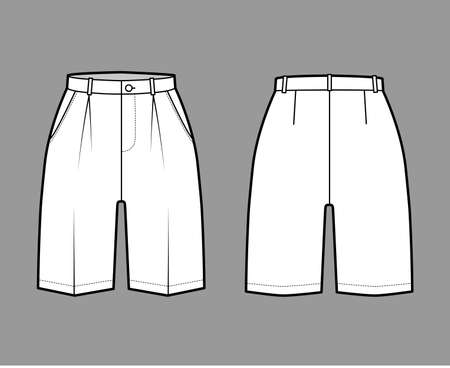Short Bermuda dress pants technical fashion illustration with above-the-knee length, single pleat, normal waist, high rise. Flat walking bottom front, back, white color style. Women, men CAD mockup