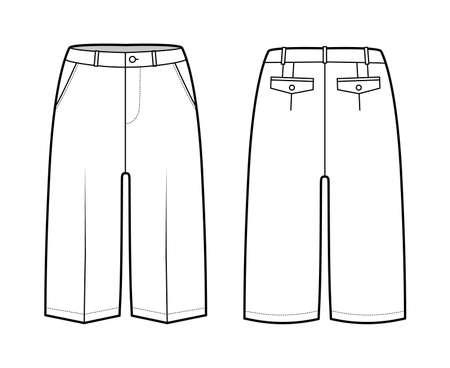Short Bermuda pants technical fashion illustration with knee length, low waist, rise, slashed pocket. Flat walking bottom template front, back, white color style. Women, men unisex CAD mockup