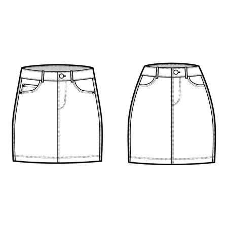 Set of Denim skirts technical fashion illustration with mini length, normal low waist rise, curved and angled pockets. Flat bottom template front, white color style. Women, men, unisex CAD mockup