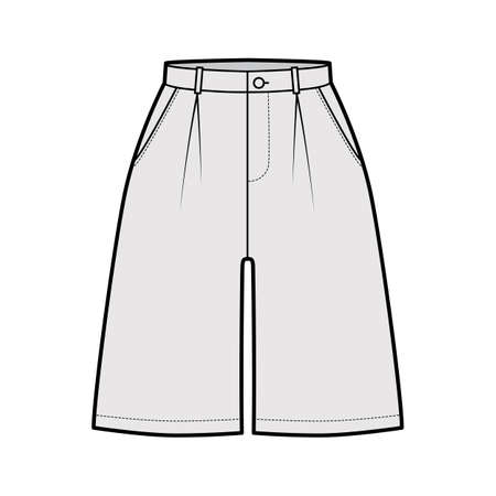 Short baggy Bermudas dress pants technical fashion illustration with above-the-knee length, single pleat, normal waist, high rise. Flat bottom template front, grey color style. Women, men CAD mockup