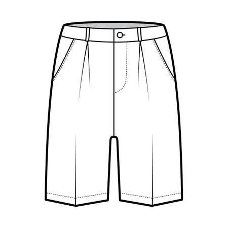 Short Bermuda dress pants technical fashion illustration with above-the-knee length, single pleat, low waist, rise, slashed pocket. Flat walking bottom front, white color. Women, men CAD mockup 向量圖像