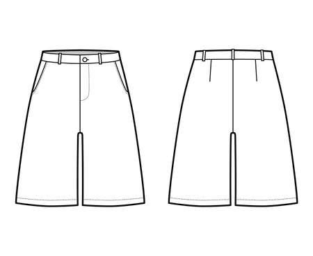 Short baggy Bermudas dress pants technical fashion illustration with above-the-knee length, low waist, slashed pocket. Flat walking bottom template front, back, white color style. Women men CAD mockup 向量圖像
