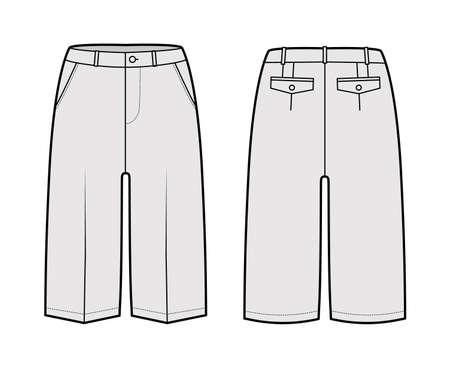 Short Bermuda pants technical fashion illustration with knee length, low waist, rise, slashed pocket. Flat walking bottom template front, back, grey color style. Women, men unisex CAD mockup