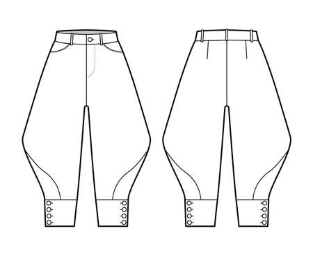 Riding breeches short pants technical fashion illustration with knee length, normal waist, high rise, curved pocket, buttoned. Flat bottom template front, back, white color style. Women men CAD mockup