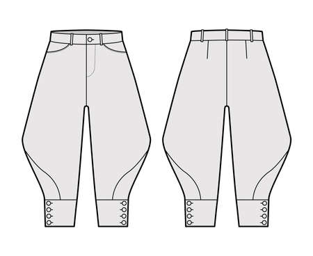 Riding breeches short pants technical fashion illustration with knee length, low waist, rise, curved pocket, buttoned. Flat bottom template front, back, grey color style. Women, men CAD mockup