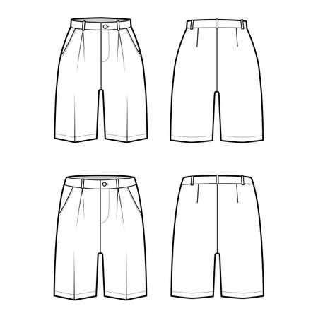 Set of Shorts Bermuda dress pants technical fashion illustration with above-the-knee length, single pleat, low waist, rise, slashed pocket. Flat bottom front, back, white color. Women, men CAD mockup