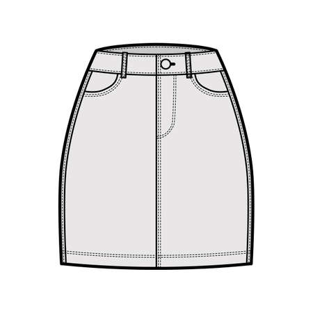 Denim skirt technical fashion illustration with mini length, normal waist, high rise, curved and angled pockets. Flat bottom template front, grey color style. Women, men, unisex CAD mockup
