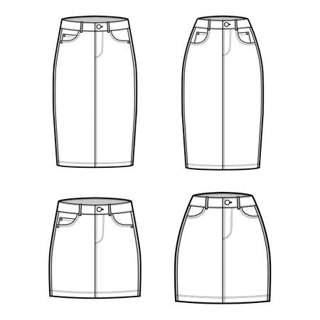 Set of Denim skirts technical fashion illustration with mini, knee length, low high waist rise, 5 pockets, fitted body. Flat bottom template front, white color style. Women, men, unisex CAD mockup