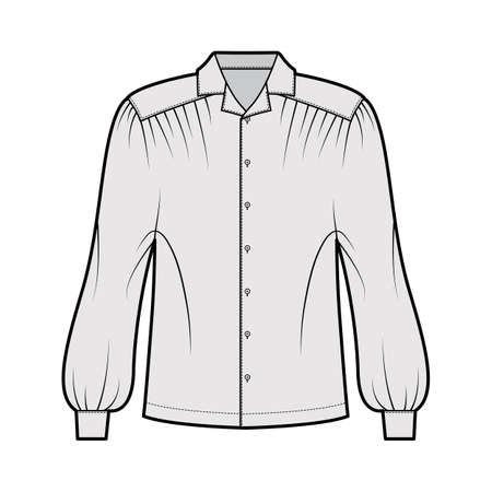 Gaucho blouse technical fashion illustration with dolman puff long sleeves, open collar, oversized, button up. Flat apparel top template front, grey color. Women, men unisex CAD mockup Vektorové ilustrace