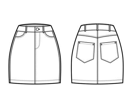 Denim skirt technical fashion illustration with mini length, normal waist, high rise, curved and angled pockets. Flat bottom template front, back, white color style. Women, men, unisex CAD mockup