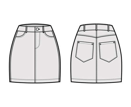 Denim skirt technical fashion illustration with mini length, normal waist, high rise, curved and angled pockets. Flat bottom template front, back grey color style. Women, men, unisex CAD mockup
