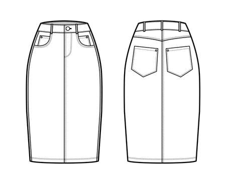 Denim pencil skirt technical fashion illustration with knee length, normal waist, high rise, coin and angled pockets. Flat bottom template front, back, white color style. Women, men CAD mockup