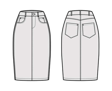 Denim pencil skirt technical fashion illustration with knee length, normal waist, high rise, curved, coin and angled pockets. Flat bottom template front, back, white color style. Women, men CAD mockup