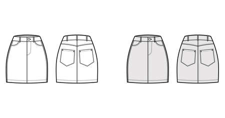 Denim skirt technical fashion illustration with mini length, normal waist, high rise, curved and angled pockets. Flat bottom template front, back, white grey color style. Women, men, unisex CAD mockup