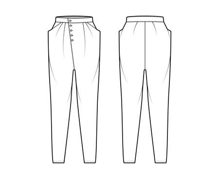 Tapered Baggy pants technical fashion illustration with low waist, rise, slash pockets, draping front, full lengths. Flat bottom apparel template back, white color style. Women, men, unisex CAD mockup Vectores