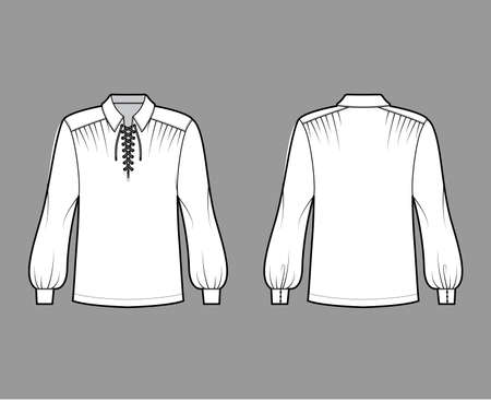 Pirate blouse technical fashion illustration with bouffant long sleeves, poet lacing collar, oversized, tunic length. Flat apparel top template front, back, white color. Women, men unisex CAD mockup