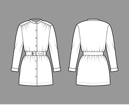 Belted blouse technical fashion illustration with long sleeves, stand collar, oversized, button up, enlarged hem. Flat apparel top template front, back, white color. Women, men unisex CAD mockup