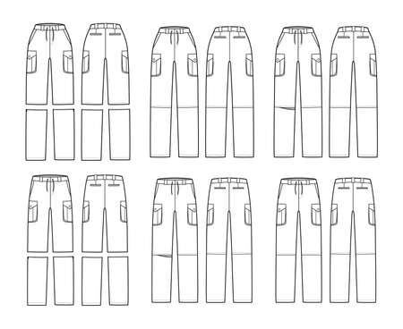 Set of Zip-off convertible pants technical fashion illustration with normal low waist, high rise, box pleated cargo jetted pockets, belt loops. Flat front back, white color style. Women men CAD mockup