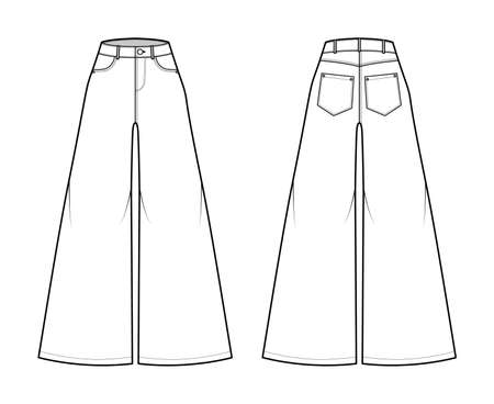 Jeans Baggy wide Pants Denim technical fashion illustration with full length, normal waist, high rise, 5 pockets, belt loops. Flat bottom template front, back white color style. Women, men, unisex CAD