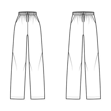Set of Pajama pants technical fashion illustration with elastic normal low waist, high rise, full length, drawstrings, pockets. Flat trousers apparel template front, white color. Women men CAD mockup