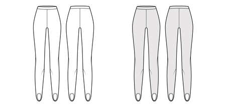 Stirrup Pants knit technical fashion illustration with normal waist, high rise, full length. Flat sport training, casual trousers template front, back, white grey color. Women men unisex CAD mockup