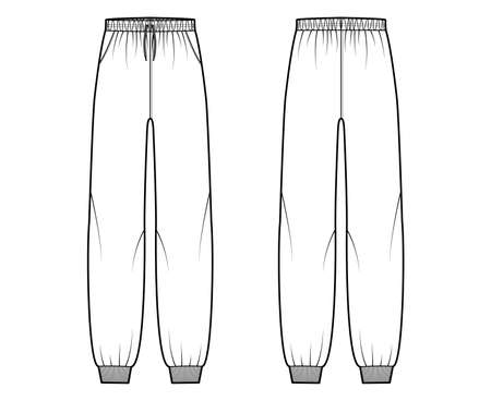 Sweatpants technical fashion illustration with elastic cuffs, low waist, rise, full length, drawstrings. Flat training trousers apparel template front, back, white color. Women men unisex CAD mockup