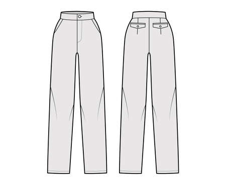 Pants straight technical fashion illustration with flat front, normal waist, high rise, full length, slant, flap pockets. Flat trousers apparel template back, grey color. Women, men, unisex CAD mockup