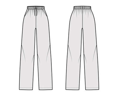 Pajama pants technical fashion illustration with elastic normal waist, high rise, full length, drawstrings, pockets. Flat trousers apparel template front, back, grey color. Women men unisex CAD mockup